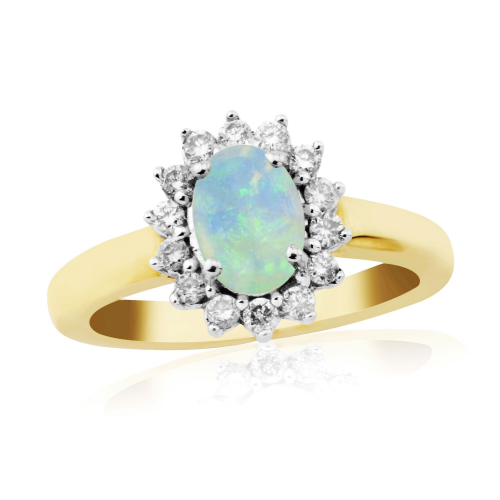 Oval Opal And Diamond Cluster Yellow Gold Ring